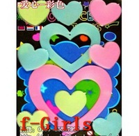 Baby Kid Gift Glow In The Dark colorful Heart Stickers Bedroom Decor,30sets/lot