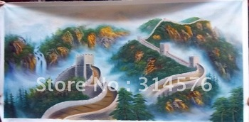 Pure manual painting realistic world famous construction painting the Great Wall of China oilpainting