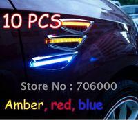 Wholesale 10pcs 2pcs=1set Brand New 12V AUTO / CAR LED Side Lights Lamp / Marker Turn signal Lights Amber, red, blue Free
