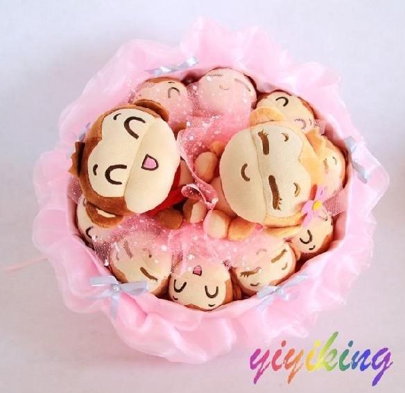 Cute Yoyo Monkey Toy Flower Wedding Doll Bouquet Christmas Gift four colors