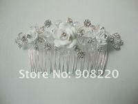 FREE SHIPPING, Rhinestone Bridal Jewelry, Wedding Hair Accessory, Flower Bridal Hair Comb, 2pcs/lot
