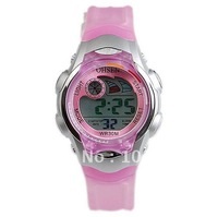 Fast Shipping Fashion Digital Sports Wrist Watch Ohsen Weekday Date Alarm Child Kid Gift Pink