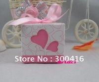 100x Heart Design Wedding Favor Party Boxes- Pink+free shipping