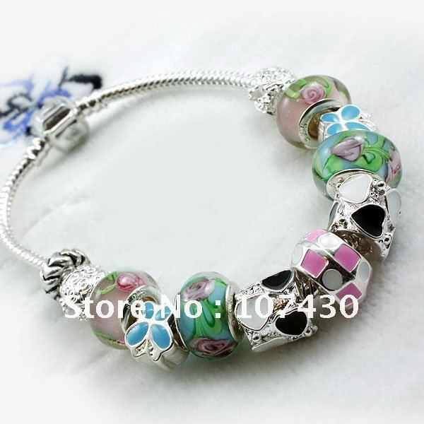 HOT SALE European Style 925 Silver glass Charm Bracelet With Murano Glass Beads Jewelry PA1035(China (Mainland))