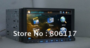 2DIN 7inch Motorized panel Double din indash dvd player with bluetooth,GPS Analog TV 3D UI