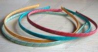 50pcs/lot, 0.5cm wide simple color ribbon hairband ribbon wrapped headband AJB-1003  25colors