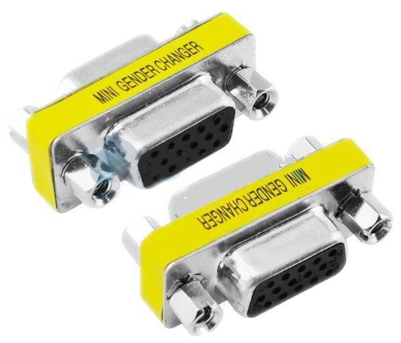 Wholesale Free Shipping New 15 Pin HD SVGA VGA Female-Female Gender Changer Adapter(China (Mainland))