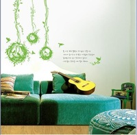 Wicker next bird's nest Wall paper lovely decal removable stickers Free shipping