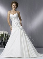 Embroideried Halter Floor-Leght A-Line Wedding Dress,Beautiful Bride Dress,Bride Wear,Customized Size and Color