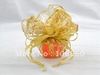 Wholesale  Gold Rose Gold Wedding Circle Organza bags 25cm CG-114-Free Shipping