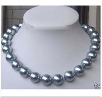 """Gray SEA SHELL PEARL NECKLACE 18"""" 12mm"""