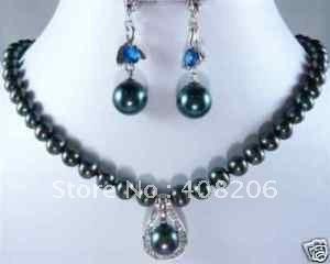 Благородный черный жемчужные ожерелья & комплект