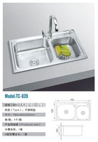 Brushed Stainless Steel Sink Double Bowls Kitchen Sink TC-839