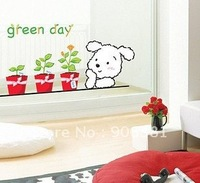 Green day dog Wall paper lovely decal removable stickers Free shipping