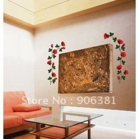 Lovely rose Wall paper lovely decal removable stickers Free shipping