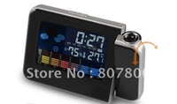 Hot Sale Weather Station Clock Iphone Shape Colorful Large LCD Screen Projection Alarm Clock Digital Desktop Clock