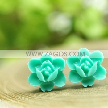 1000pcs Resin Rose Flower Cabochon Beads,Flat Back,Aquamarine,12mmx12mmx6mm,Free Shipping,RB0550-10