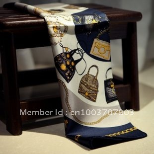 Hot sale 2012 Newest style ladies 100% silk satin square scarf JY008