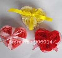 CHRISTMAS GIFT PROMOTION!gift set handmade rose petals flower paper soap, mix color,(3pcs=box)