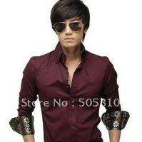 Free shipping - South Korean Men's Slim Long Sleeve Dress Causal Shirts Party Working Shirt 3 Colors To Choose 046