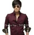 Free shipping - South Korean Men's Slim Long Sleeve Dress Causal Shirts Party Working Shirt 3 Colors To Choose 046