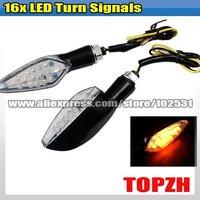2 Pcs Motorcycle 16x LED Turn Signals Indicators Amber TA052
