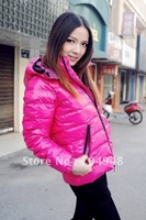 Free shipping-Wholesale New Celebrity Lady's Short Down Coat/Women Winter Hood Glossy Jacket Outwear
