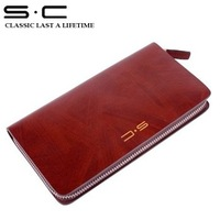 S.C Free Shipping  +  Leather Zip Round Notecase  LY0006-3