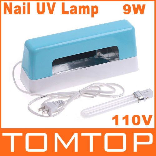 Promotions, Nail Gel Curing UV Lamp Blue 9W 110V Nail Art UV Light, Free Shipping, Dropshipping(China (Mainland))