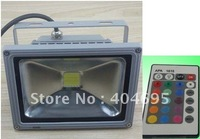 Free shipping 20W RGB remote control flood light / outdoor light / led rgb spotlight / colorful cast light