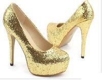 Women's 2011 Glitter Fashion Platform High Heel Pump Shoes Evening Shoes Size US 5-8.5 Freeshipping (SH1037)