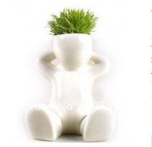 DIY White Man Magic grass planting Creative Gift Plant Hair man Home Decoration