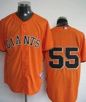 Wholesale New Series No.55 baseball clothing/ Orange color 5pcs/lot free shipping by DHL