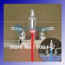 Water Stream Temperature Sensitive Controlled LED Faucet Tap 2 Color Lights+2 x Thread Adapter, Free Shipping(China (Mainland))