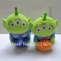Free Shipping EMS 100/Lot Toy Story ALIEN Little Green Man Stuffed Plush Toy Key chain Wholesale