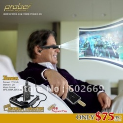 "Mobile theatre mini video glasses for movie display+Max 32GB with 72"" AV-IN(China (Mainland))"
