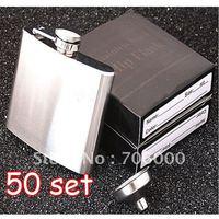 50SET/LOT New In Retail Box Stainless Steel Pocket Drink Hip Flask Wine Set /wine pot / flagon 5OZ 304#