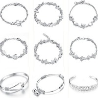 OPK JEWELRY 10pcs/lot MIXED ORDER Silver Plated Bracelet Link Chain Cuff Bangle Charm Bracelets Free Shipping