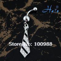BJ0032110PCS/Lot Free Shipping Fashion Rhinestone Stainless Steel Tie Cystal Bulk Jewelry China Piercing Navel Button Ring