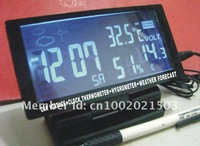 1pc Large LCD Car Thermometer/Clock/Voltage/Hygrometer