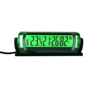 1pc Car clock with hygrometer thermometer Green backlit