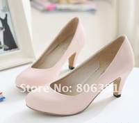 HOT SALE Low heel lady shoes, brief/ simple women fashion shoes/pumps,round toe high-heeled dress shoes.pink,beige,black,grey
