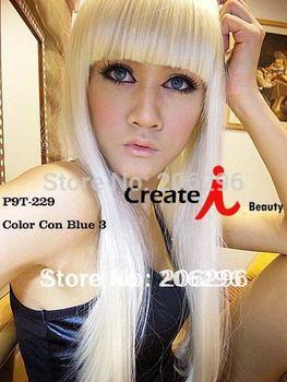 Free Shipping Lady GaGa Fashion Wig Long Straight Hair For Women White wigs 50cm