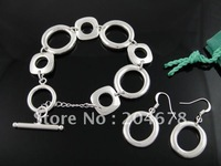 New Women's o Link 925 Sterling Silver Fashion Jewelry  Bracelet&Earring Set