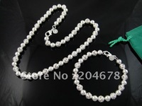 New Fashion Jewelry 925  Sterling Silver Women's Beads Chain Necklace&Bracelet  Sets