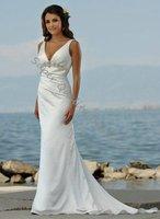 Embroideried V-Neck Sleeveless Floor-Leght A-Line Wedding Dress,Beautiful Bride Dress,Bride Wear,Customized Size Color