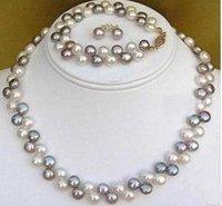 Black White freshwater Pearl necklace, bracelet,earring