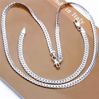 Free Shipping Wholesale Fashion Jewelry Set,5MM sideways chain 2 Piece set,925 Sterling silver Necklace&Bracelet&Earrings T011