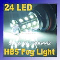 Car 24 LED SMD5050 HB5 9007 White Fog Light Automotive Lamp Bulb 12V Vehicle Free Shipping