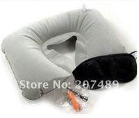 Three tourists treasures set products Travel U shape Pillow+eyeshade+earplug Neck Rest Inflatable Airplane car wholesale